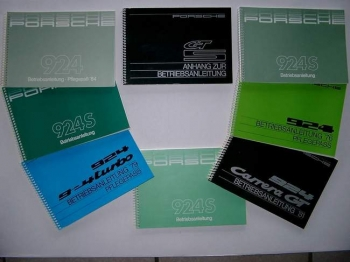 Operating instructions for Porsche 924 / 924 S / 924 Turbo / GT / GTS