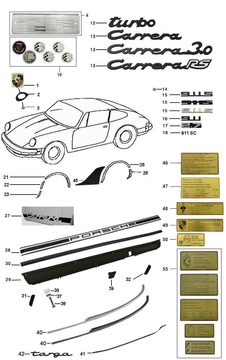 Aluminium poliert  4 Ringe D Porsche 911-964 Chrom Ringe für Türlautsprecher